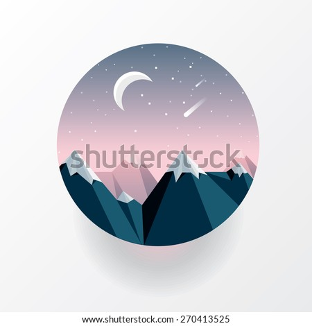 round landscape icon in geometric triangular low polygon style. Mountain peaks on the moonlight with stars and  meteor shower - stock vector