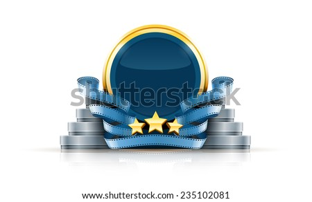 Round logo with stars and cinema films. Eps10 vector illustration. Isolated on white background - stock vector