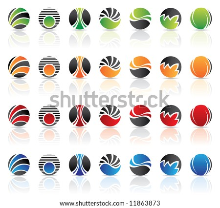 Round logos to go with your company name - stock vector