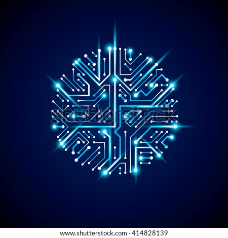 Round luminescent blue circuit board with electronic components of technology device. Computer motherboard cybernetic vector abstraction with flash effect. - stock vector