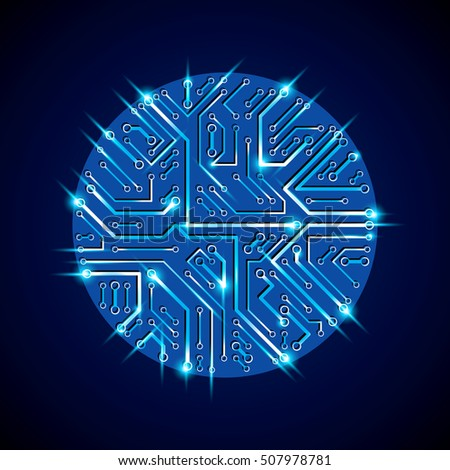 Round luminescent blue circuit board with electronic components of technology device. Computer motherboard cybernetic vector abstraction with flash effect.