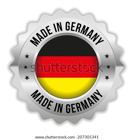 Round made in germany badge with chrome border on white background - stock vector