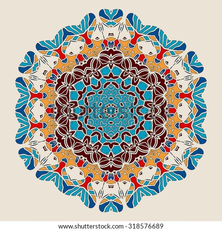 Round Mandala.Stylized Ornate Oriental Lace.Traditional Indian Art Imitation.Oriental Wallpaper.Vintage decorative elements.Colorful Hand drawn background.Islamic, Arabic,Indian, Asian, Ottoman motifs - stock vector
