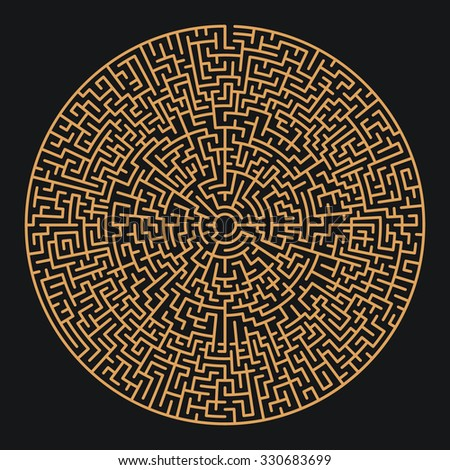 Round Maze / Labyrinth with Entry and Exit. Find the Way Out Concept. Transportation / Logistics Abstract Background Concept. Business Path Concept. Vector Illustration. - stock vector