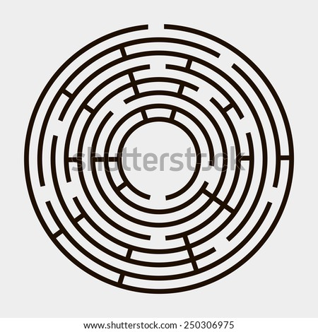Round maze on a white background - stock vector