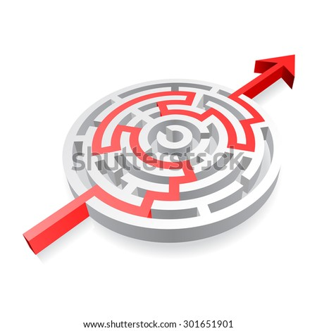 Round maze with a red Arrow passing through. - stock vector