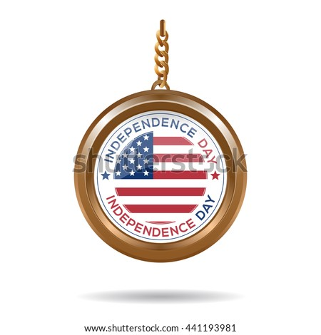 Round medallion on a chain with an American flag and inscription - Independence Day. Independence Day design. Vector illustration