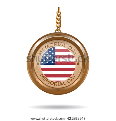 Round medallion on a chain with an American flag and inscription - Memorial day. Memorial day design. Vector illustration - stock vector