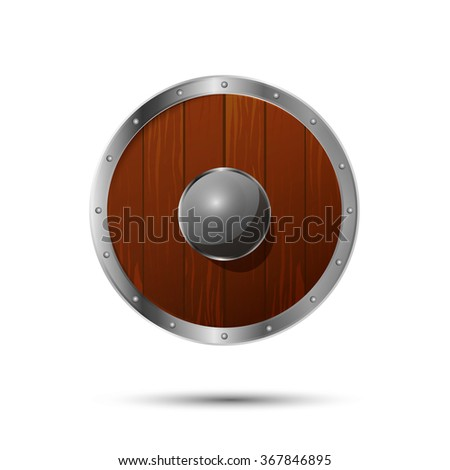 Round medieval shield, cartoon icon isolated on white - stock vector