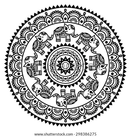 Round Mehndi, Indian Henna tattoo pattern   - stock vector