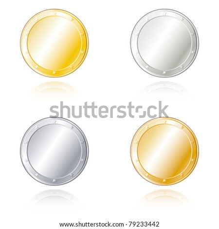 Round metal badges in gold, silver, bronze and steel look.