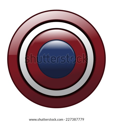 Round Metal Red White and Blue American Shield - stock vector