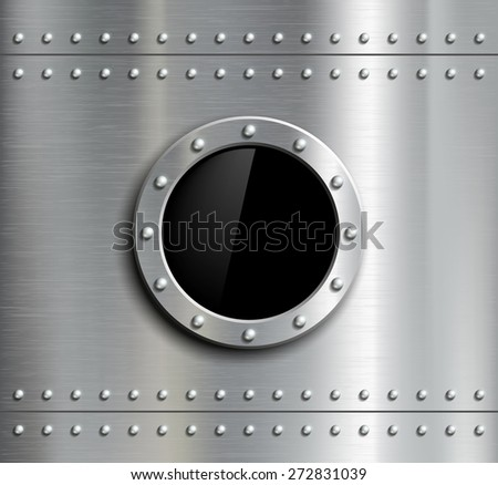 Round metal window with rivets. Vector image. - stock vector