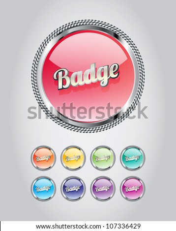 Round metallic glassy badges/buttons collection - stock vector
