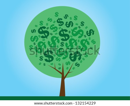 Round money tree with dollar signs as leaves - stock vector