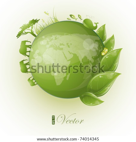 Round nature design with green leaf and globe, eps-10