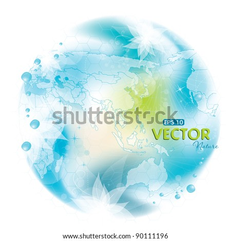 Round nature design with map, vector illustration, contain gradient mesh, eps-10 - stock vector