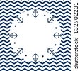 Round navy blue and white frame with anchors and dots, on a chevron background, vector - stock photo