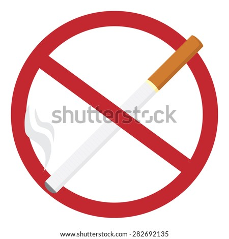 Round no smoking sign with realistic cigarette, quit smoking, smoke free, no smoking icon vector illustration - stock vector