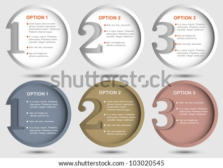Round numbered banners. Creative design template - stock vector