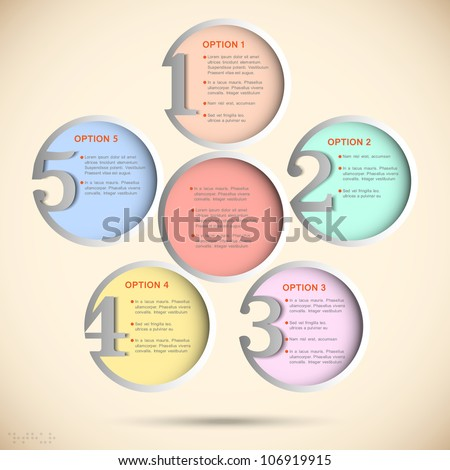 Round numbered banners in pastel colors. Creative design template - stock vector