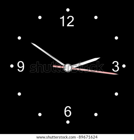 round office wall clock isolated on black. vector - stock vector