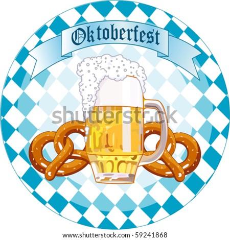 Round  Oktoberfest Celebration design with beer and pretzel - stock vector