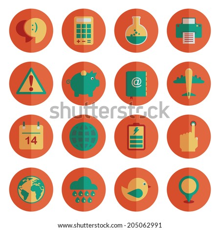 round orange flat color media icons with transparencies