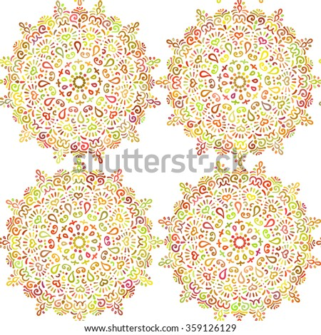 Round Ornament Floral Seamless Pattern from Mandalas. Colorful Lace Doily background. Decorative round ornaments. Vector mandala design elements. Geometric pattern in floral motif. Boho style flowers. - stock vector