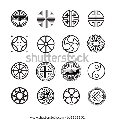 Round ornament icon, chinese, japanese, korean circle vector set - stock vector