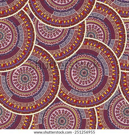 Round ornament mandala seamless pattern design - stock vector