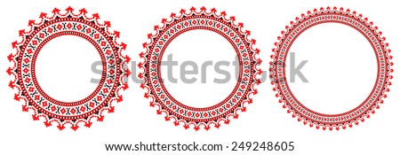 round ornament of embroidered good like handmade cross-stitch ethnic Ukraine pattern. template for goods of different sizes - stock vector