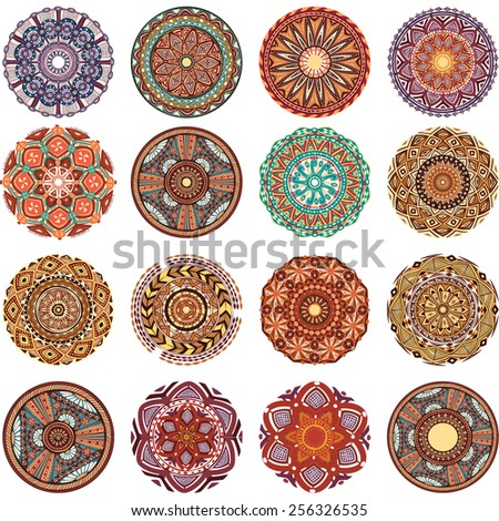 Round Ornament Pattern collection - stock vector
