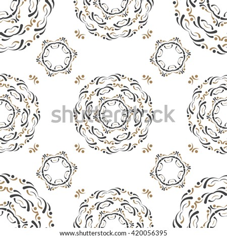 Round Ornament pattern. Fashion decorative elements. Gold and black pattern - stock vector