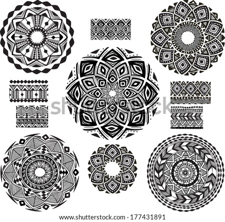 Round Ornament Pattern with pattern brush - stock vector