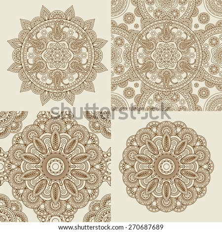 Round Ornament Patterns. Mandala and mandala pattern vector set - stock vector