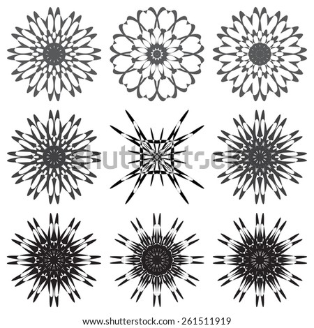 Round ornament set. Vector illustration