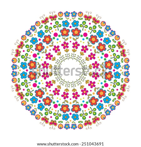 Round ornament. Vector illustration. Floral background. - stock vector