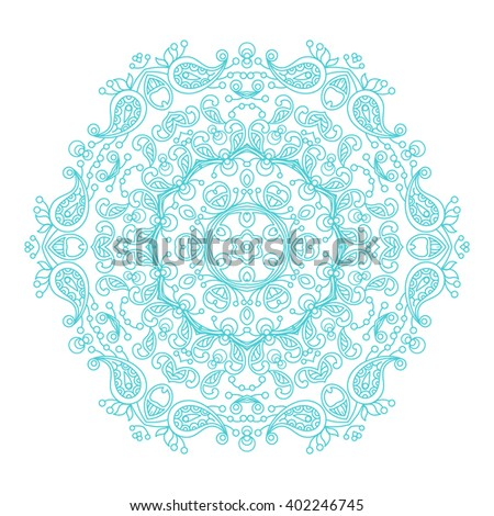 Round ornament vintage floral mandala. The esoteric mandala symbol on a white background. Om sign in the eastern style, Indian ethnic ornament mandala. - stock vector