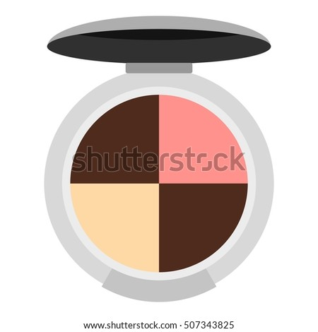 Round palette eye shadow icon. Flat illustration of round palette eye shadow vector icon for web