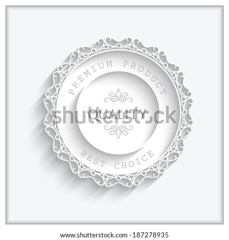 Round paper frame, vector ornamental lacy label on white, eps10 - stock vector