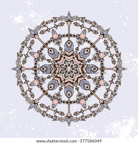 Round pattern, vector ornament in a retro boho (bohemian) style. With tribal design elements: hunter arrows and feather. Abstract mandala. Background in grudge style. - stock vector