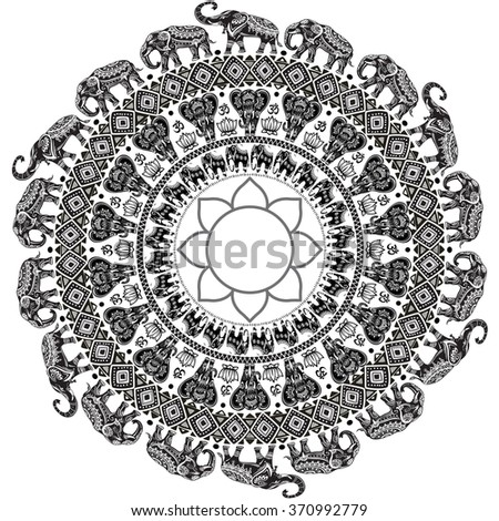 Round pattern with decorated elephants - stock vector