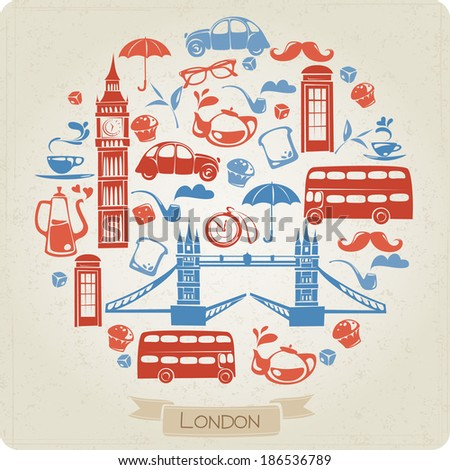 Round pattern with London or British icons - stock vector