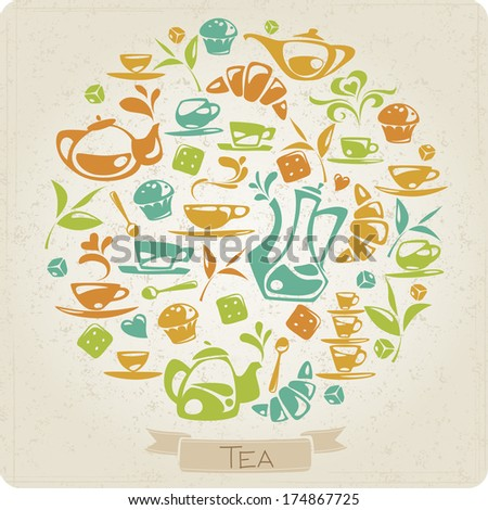 Round pattern with tea elements - stock vector