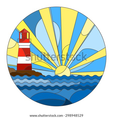 Round pattern with the sea, lighthouse and rising sun in stained glass style