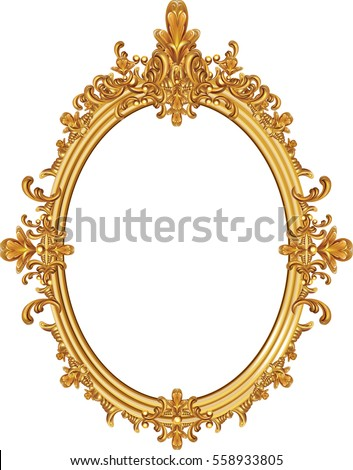 round photo frame metal gold interi pattern vector - Mirror Frame