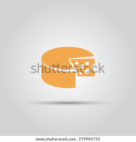 round piece of cheese isolated vector flat icon - stock vector