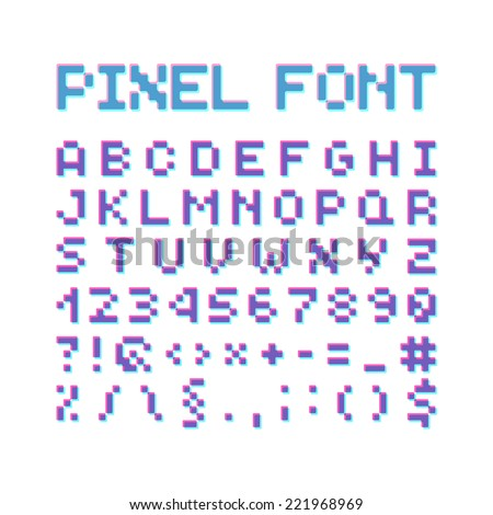 Round Pixel Font, Isolated Vector Letters And Numbers, Alphabet - stock vector
