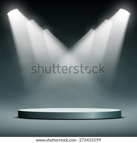 Round podium illuminated spotlights. Vector image. - stock vector